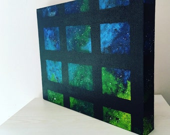 Modern Galaxy Painting: Acrylic Galaxy Painting with Grid Cut-out on Deep Edge Canvas