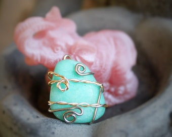 Wire Wrapped Amazonite - Mixed Silver & Gold