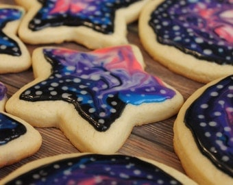 Galaxy, Galaxy Cookies, Star, Space, Space Cookies, Outerspace, Birthday, Sugar Cookies, Shaped Cookies, Universe, Planets, Girl, Boy