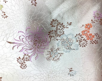 "Fabric Remnant, Silky Sheen Silver with Embroidered Flowers, 27"" x 19""  -1666-R001"