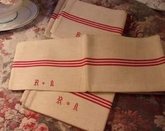 2 old french kitchen towels kitchen