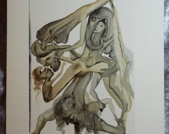 1960's Salvador Dali,  Les Limbes,  Original Vintage, Woodblock Engraving,  Vintage Art, Vintage Woodblock, Fine Art