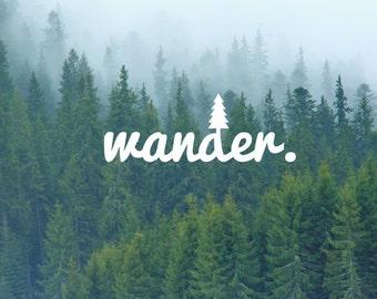 Wander Tree Decal / Nature Decals / Laptop Decals / Car Decals / Adventure Decals / Computer Decals / MacBook Decals / Window Decals