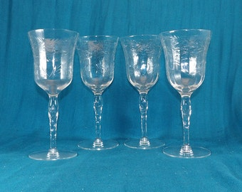 20% Off Sale Vintage Delicate Etched Glass Fluted Wine Glasses Set of 4