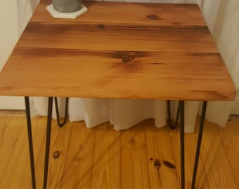 Industrial reclaimed timber side table