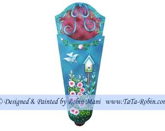 101 Bluebird in Garden - Scissor Holder Decorative Painting Pattern