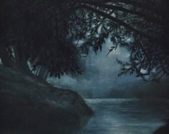Original oil painting. Lake by night