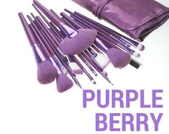 21 Piece Professional Purple Berry Makeup Brush Set