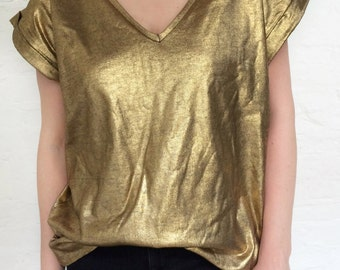 gold tunic, tunic top, oversiezed top