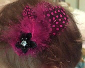 Hot Pink & Black Feather Hair Barette