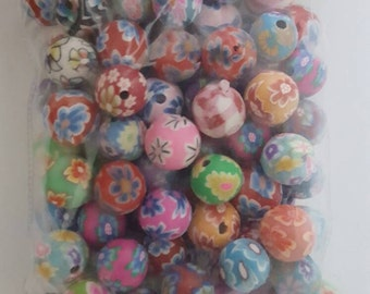 8mm Polymer Clay Round Beads, Various Colours and Designs, 200 beads