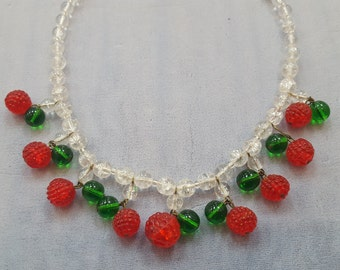 """Whimsical Vintage Glass Raspberries Necklace 16"""""""