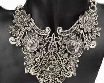 Vintage Silver Plated Statement Bib necklace