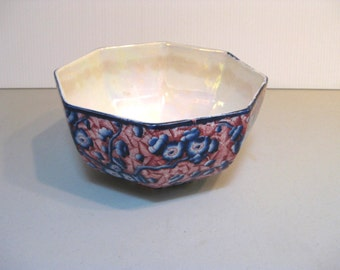 Vintage Imari style serving bowl with white red & blue