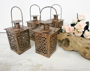 Set of 4 Wedding Lanterns Rustic lanterns Metal Candle holder Beach Wedding Lighting Centerpiece