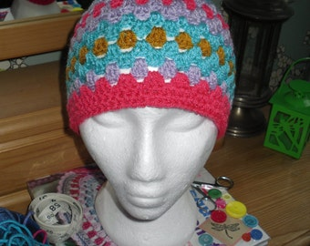 Granny style crocheted multi stripes beanie