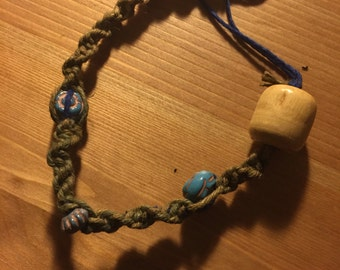 Wooden beaded hemp bracelet