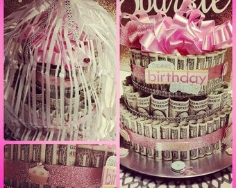 Custom FTM53 Pink Sparkly Birthday Money Cake