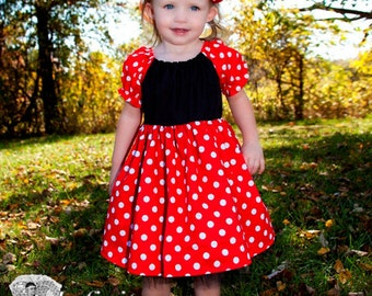 Red Polkadot Peasant Dress with Peek-a-boo Tulle ~ Minnie Mouse / Mickey Mouse Inspired ~ Handmade