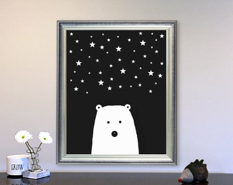 Black and White nursery art Bear Nursery wall Art printable Playroom Wall Art Kids Room Decor, Stars nursery art, Playroom art Scandinavian