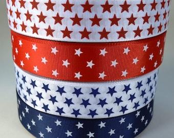 """Patriotic Stars - 1"""" Print Grosgrain Ribbon"""