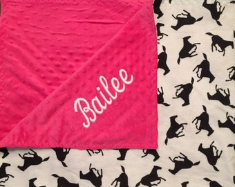 Zebra or Horse Embroidered Minky Blanket