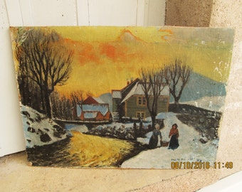 VINTAGE EUROPEAN PAINTING, early 1900's paintings, winter scenes, scandinavia paintings, snow, winter, country life, country paintings
