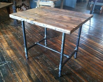 Kitchen Island Reclaimed Wood And Pipe Table Rustic Modern Kitchen Island  Or Table With Boiler Pipe