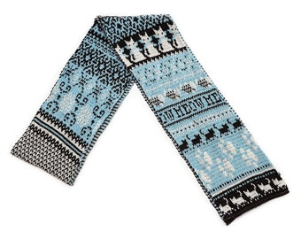 Nordic Kitty Cat Scarf - Blue