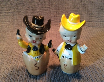 Cowboy and Cowgirl  salt pepper set