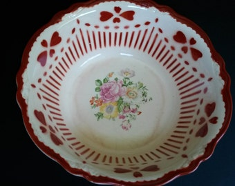 "Homer Laughlin ""Virginia Rose""  Red Clover China Bowl, Vintage Homer Laughlin serving bowl, Red Clover serving bowl, Virginia rose china"