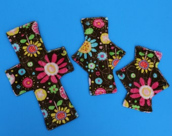 Brown Flowered Cloth Pad /  4 sizes to choose from