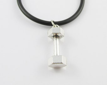 Weight Lifting Dumbbell Charm  Necklace Body Building Black Cord