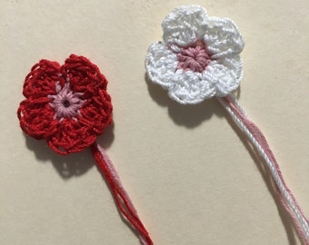 Small crocheted flowers (set of 10)