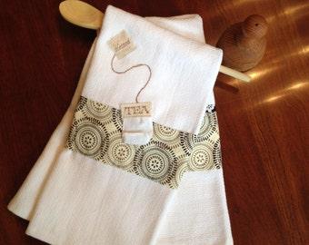 Appliqued tea bag dishtowel