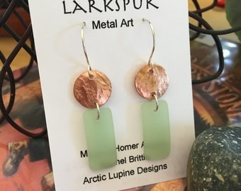 Copper Disc with Celery Dangle Earrings