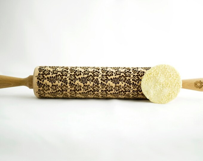 HIBISKUS rolling pin, embossing rolling pin, engraved rolling pin for a gift, flowers, gift ideas, gifts, unique, autumn, wedding
