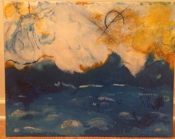 """Original Abstract Encaustic Painting 16"""" x 20"""" titled """"Angry Ocean"""""""