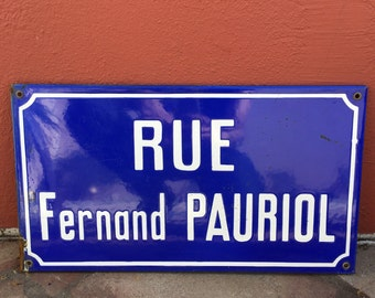 Old French Street Enameled Sign Plaque - vintage Pauriol