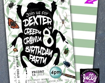 Bug Birthday Invitation / Bug Printable / Insect Invite / Boys Girls Creepy Crawly Invite / Spider Butterfly Beetle invite