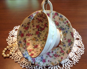 Trimont chintz china teacup and saucer. Occupied Japan