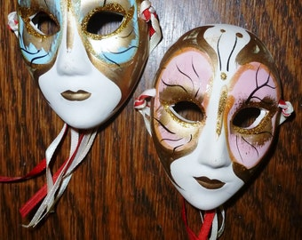 Set of 2 Hand Painted Ceramic Mask