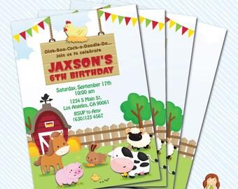 Digital Printable Farm Birthday Invitation. Girl Birthday