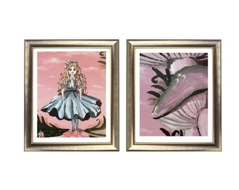 Alice in Wonderland Print Set, Alice in Wonderland Painting, Wonderland Artwork, Abstract Alice in Wonderland Art Print. Original Abstract