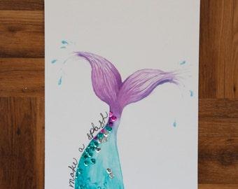 Make a Splash Mermaid Original Watercolor Painting