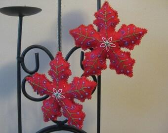 Red Felt Beaded Christmas Snowflake Ornament