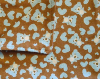 Burp Cloths - Brown with Blue Bear 02