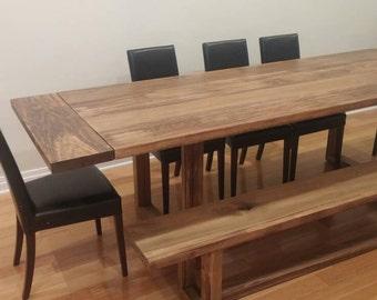 Modern Trestle Dining Table, Farmhouse Dining Table