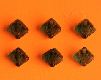 6 Vintage Art Deco Buttons in 7mm square Green Glass with fan pattern.