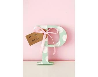 Wooden Letter /  Hand Painted letter/ Nursery Decor / Birthday Gift / Baby Gift / Christening / wooden